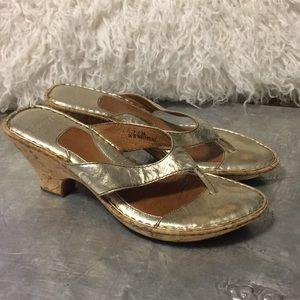 4/$50 Born gold shoes sandals slides
